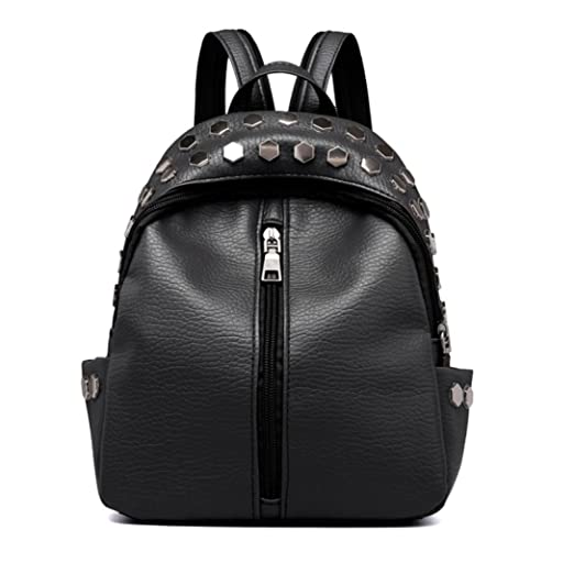 Image Unavailable. Image not available for. Color  Clearance Sale! Vintage  Women s Rivets Leather Backpack Satchel Travel School Rucksack Bag ❤ ZYEE f72e072cea3c0