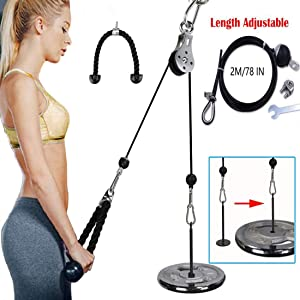 ANMKOT Forearm Wrist Roller Trainer, Arm Strength Trainer Weight Grip Rope Cable Gym Pulley System for Home Gym