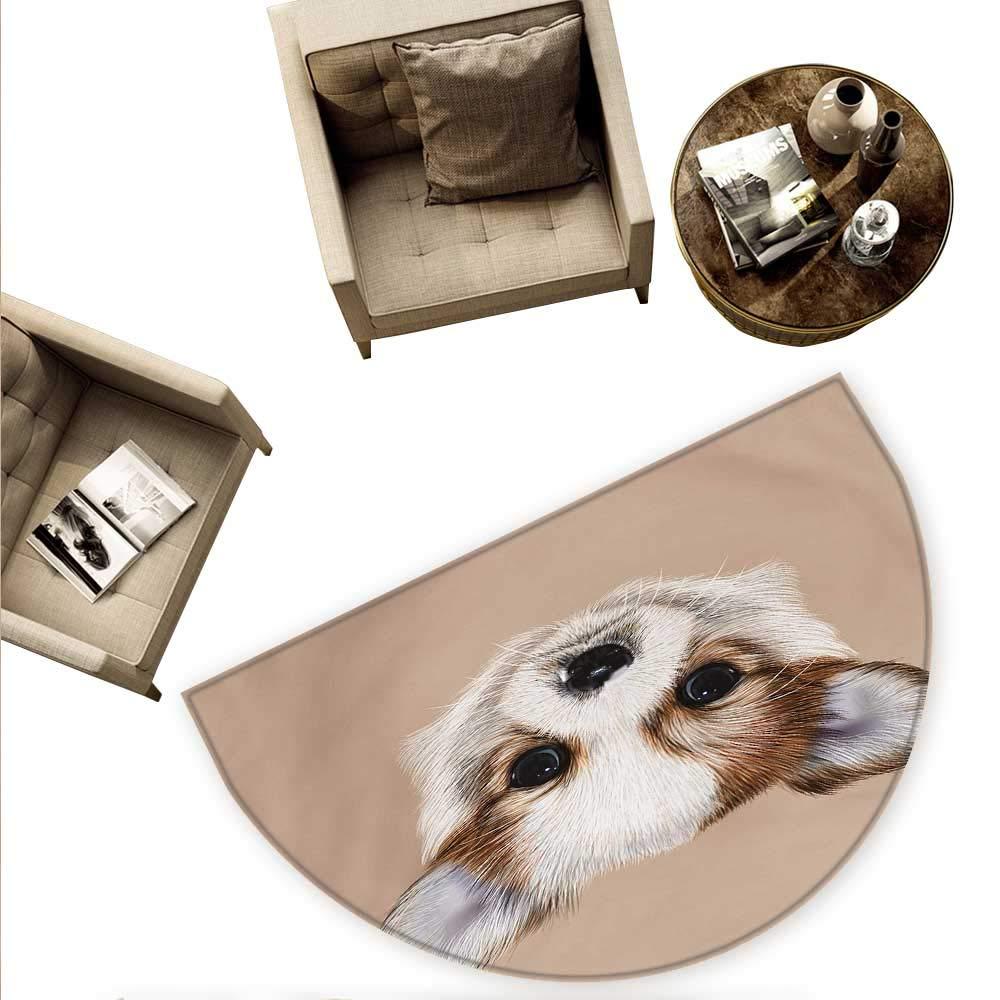 color05 H 70.8\ color05 H 70.8\ Animal Semicircular Cushion Puppy Portrait Cute Little Furry Friend Dog Pet Graphic Art Entry Door Mat H 70.8  xD 106.3  Warm Taupe Beige Pale Caramel
