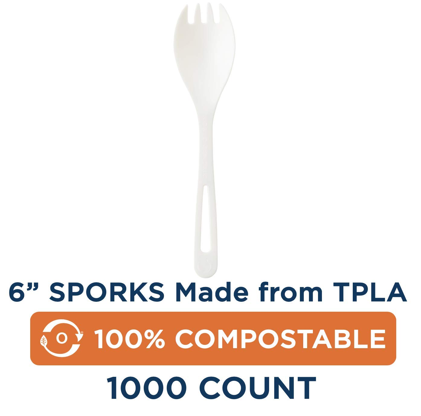 Compostable Sporks by World Centric, Made from TPLA, 100% Compostable, 6'' Sporks, White, Take Out Cutlery (Pack of 1000) by World Centric