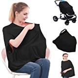( 27 patterns ) Bamboo 360° Full Coverage Multi Use Stretchy Nursing Cover Up For Breastfeeding car seat cover 4 in 1 / Nursing Cover Ups / Nursing Tops / Nursing Cover Poncho Black Bamboo(06)