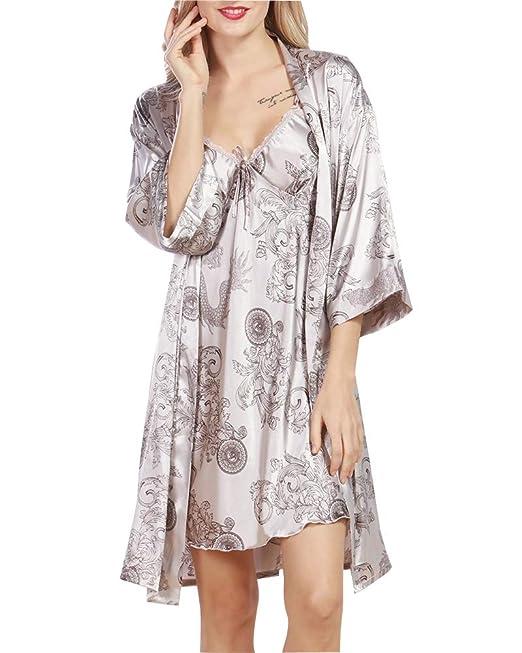 Camisón para Mujer con Vestido Kimono Satén, Patrón exótico Satén Neglige Lencería Ropa de Dormir