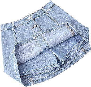 Nuoxiang Corta Denim Faldas Verano Mujeres Una Línea Mini Falda ...