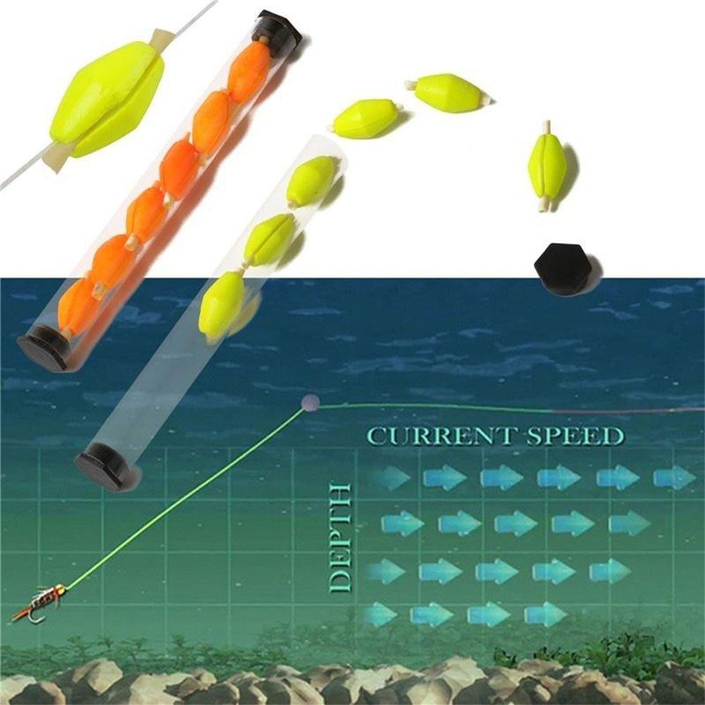 Alamana 6Pcs//Tube Fishing Floats Olive Shape Drift Foam Strike Indicator Fly Fishing Bobbers Accessories