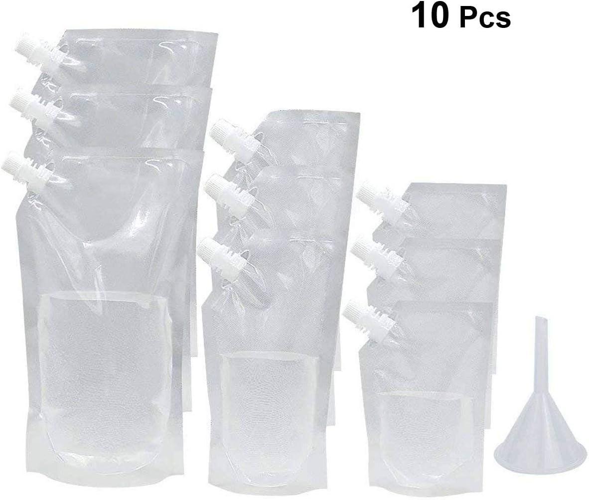 CHENs Petacas de plástico para Bebidas con Boquilla y Embudo pequeño para Botella de Bebida, 210 ml, 410 ml, 1000 ml para Bebidas de Sneak, Licor, Rum, Agua, cruceros