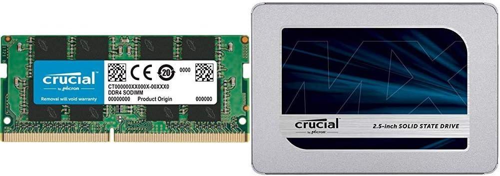 Crucial 16GB Single DDR4 2400 MT/s (PC4-19200) DR x8 SODIMM 260-Pin Memory - CT16G4SFD824A Bundle with Crucial MX500 500GB 3D NAND SATA 2.5 Inch Internal SSD - CT500MX500SSD1