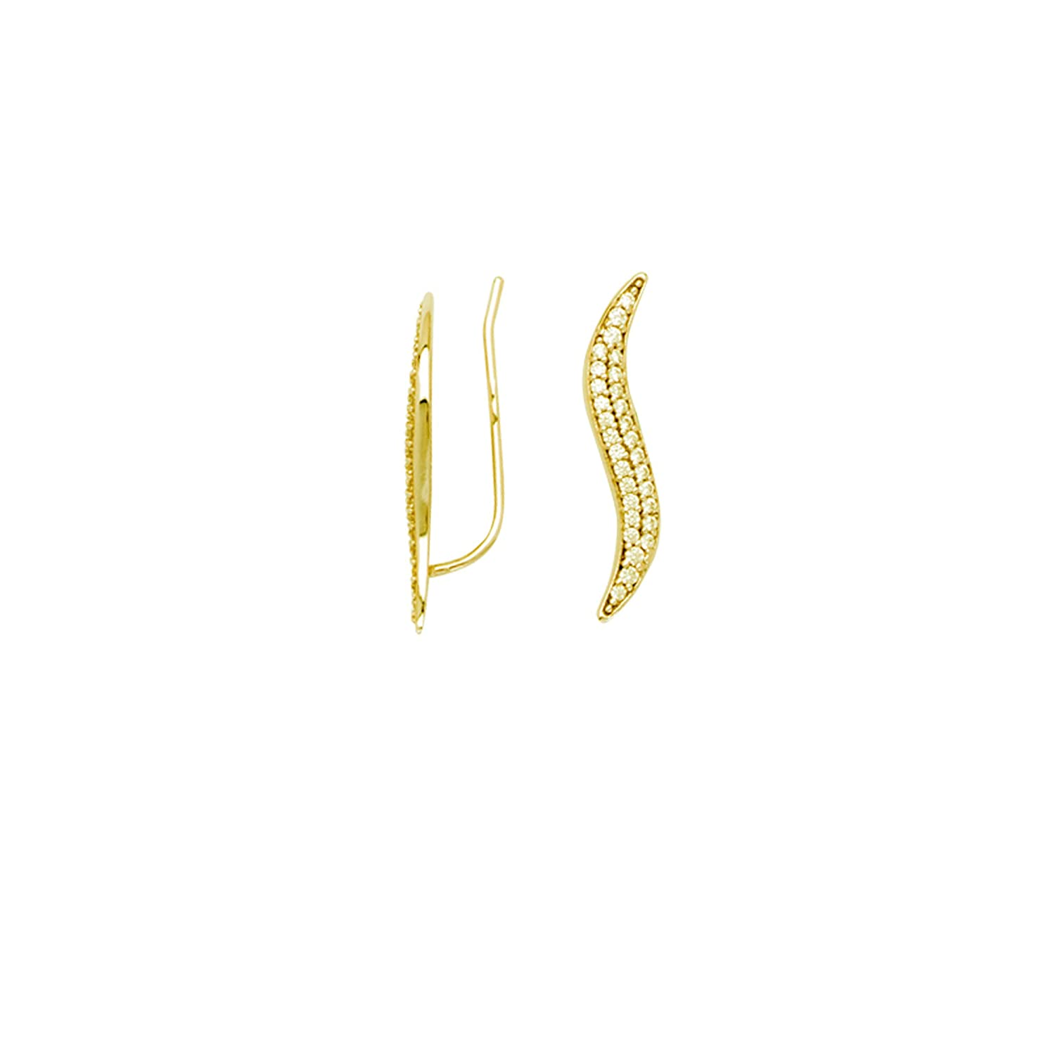 Earring Chest 14K Yellow Gold CZ Crawler Climber Earrings