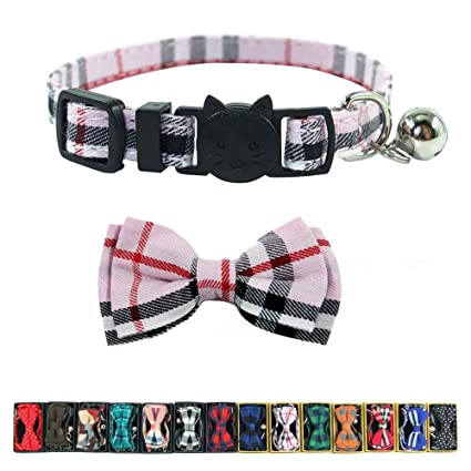 e4deec39cc09 Cat Collar Breakaway with Bell and Bow Tie, Plaid Design Adjustable Safety  Kitty Kitten Collars