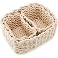 EZOWare Set of 3 Decorative Woven Cotton Rope Baskets and Storage Organizer, Perfect for Storing Small Household Items…