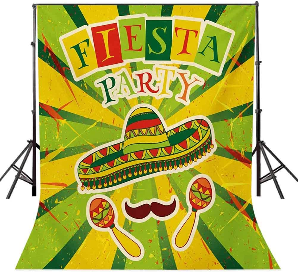 Fiesta 10x15 FT Photo Backdrops,Sprites with Sombrero Maracas Mustache Mexican Hand Drawn Illustration Background for Party Home Decor Outdoorsy Theme Vinyl Shoot Props Green Yellow Vermilion