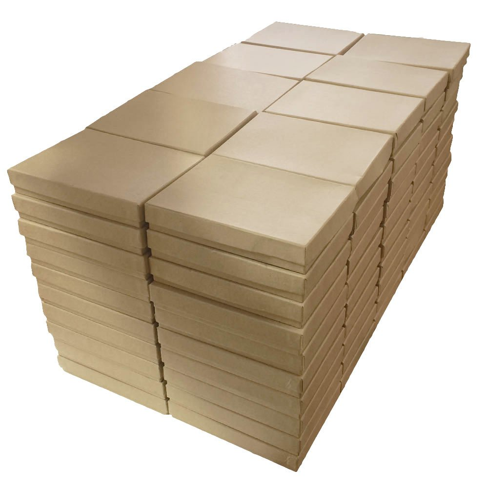 Kraft Cotton Filled Jewelry Packaging Gift Boxes #53 - Pack of 100