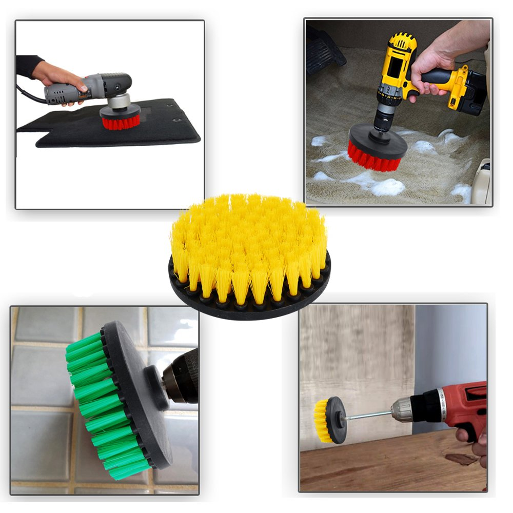 OxoxO HSS-B/ürste 5 inch Power Drill Attachment Medium Duty Scrubbing Stiffness Scrub Cleaning Brush for Cleaning Bathroom Surfaces Tile Grout Showers