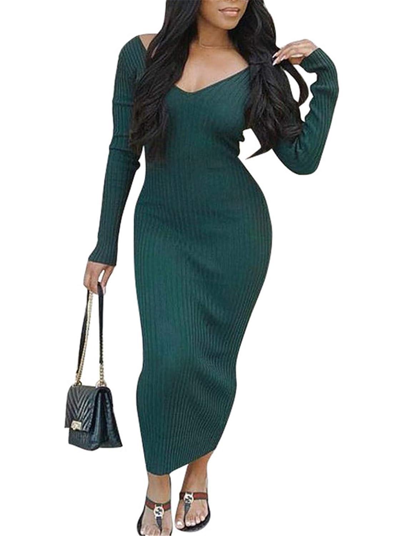Dark Green Womens Fall Winter Deep VNeck Backless Long Sleeve Knitting Basic Dress Clubwear