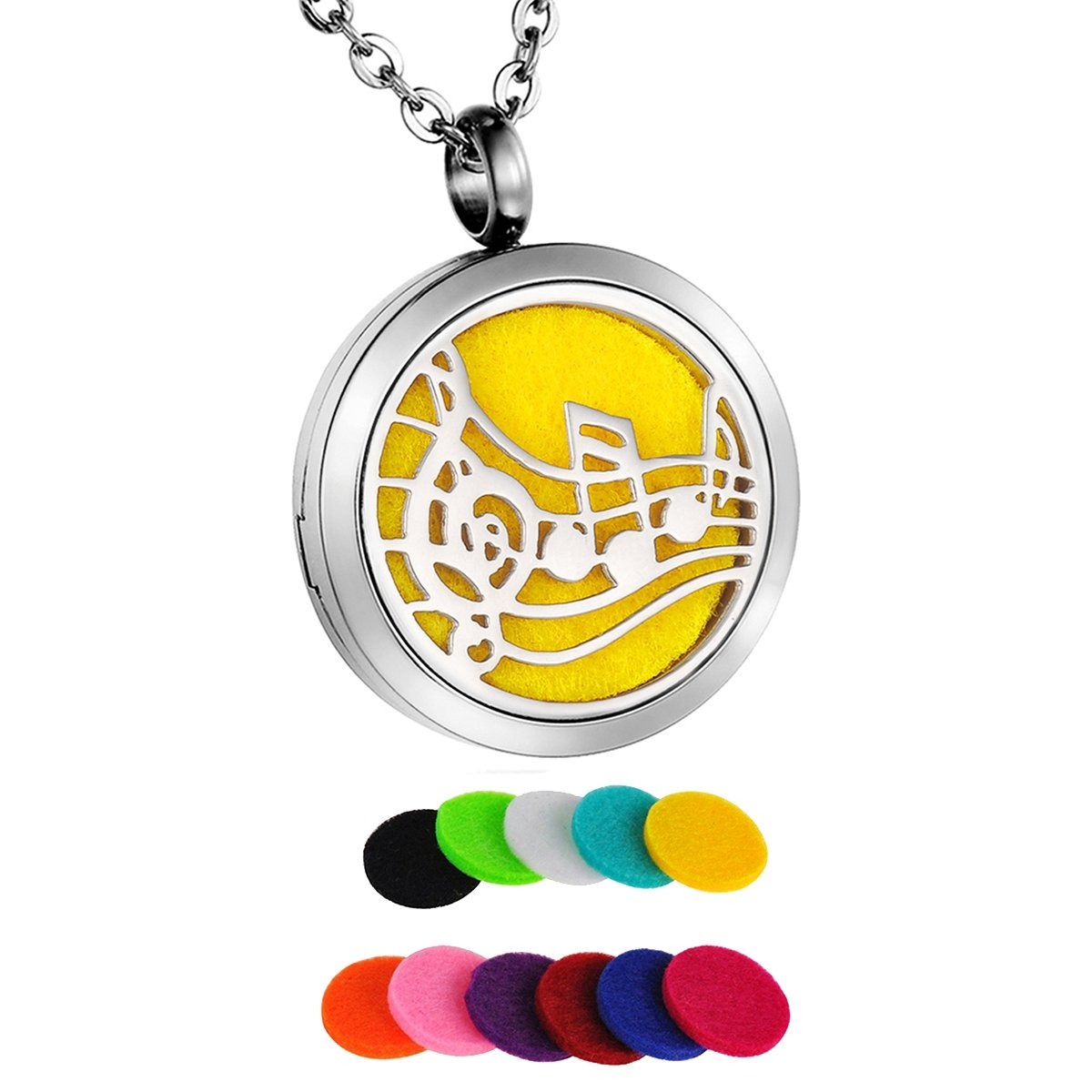 HooAMI Aromatherapy Essential Oil Diffuser Necklace - Stainless Steel Locket Pendant TY BETY104746-M