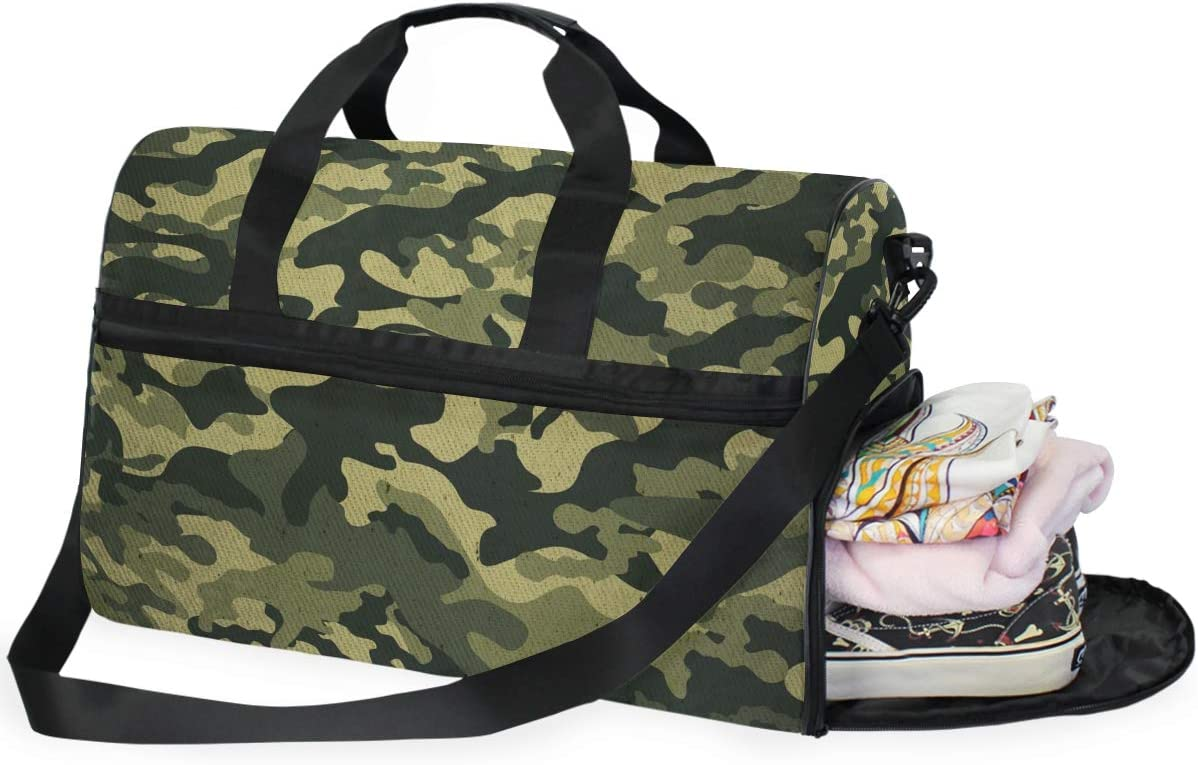 ALAZA Stylish Military Camouflage Sports Gym Duffel Bag Travel Luggage Handbag Shoulder Bag with Shoes Compartment for Men Women