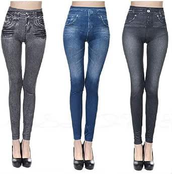 Heyzen Thermal Fleece Denim Jeggings,Womens Winter Fleece Lined Stretchy High Waisted Skinny Seamless Print Fake Jeans Yoga Denim Pants Plus Size