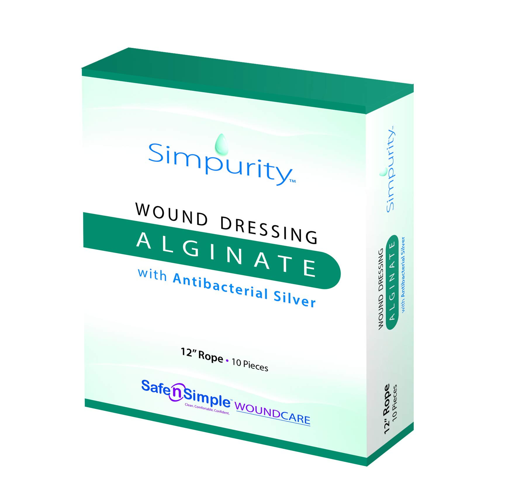 Safe n' Simple Silver Alginate Wound Dressing, 12 Inch, 10 Count