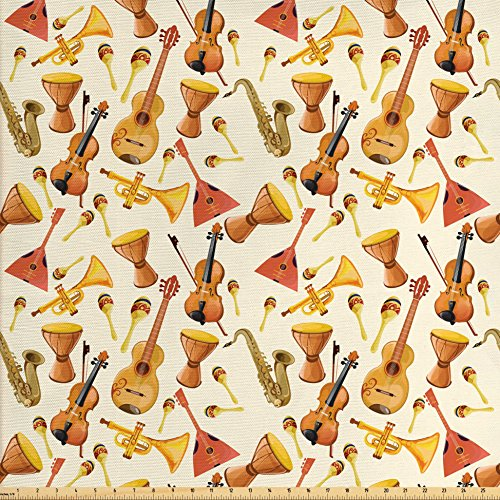 Ensemble Quilt Sham Decorative Pillow (Ambesonne Jazz Music Fabric by the Yard, Pattern with Horn Drum Guitar and Fiddlestick Folk Music Ensemble Instruments, Decorative Fabric for Upholstery and Home Accents, Multicolor)