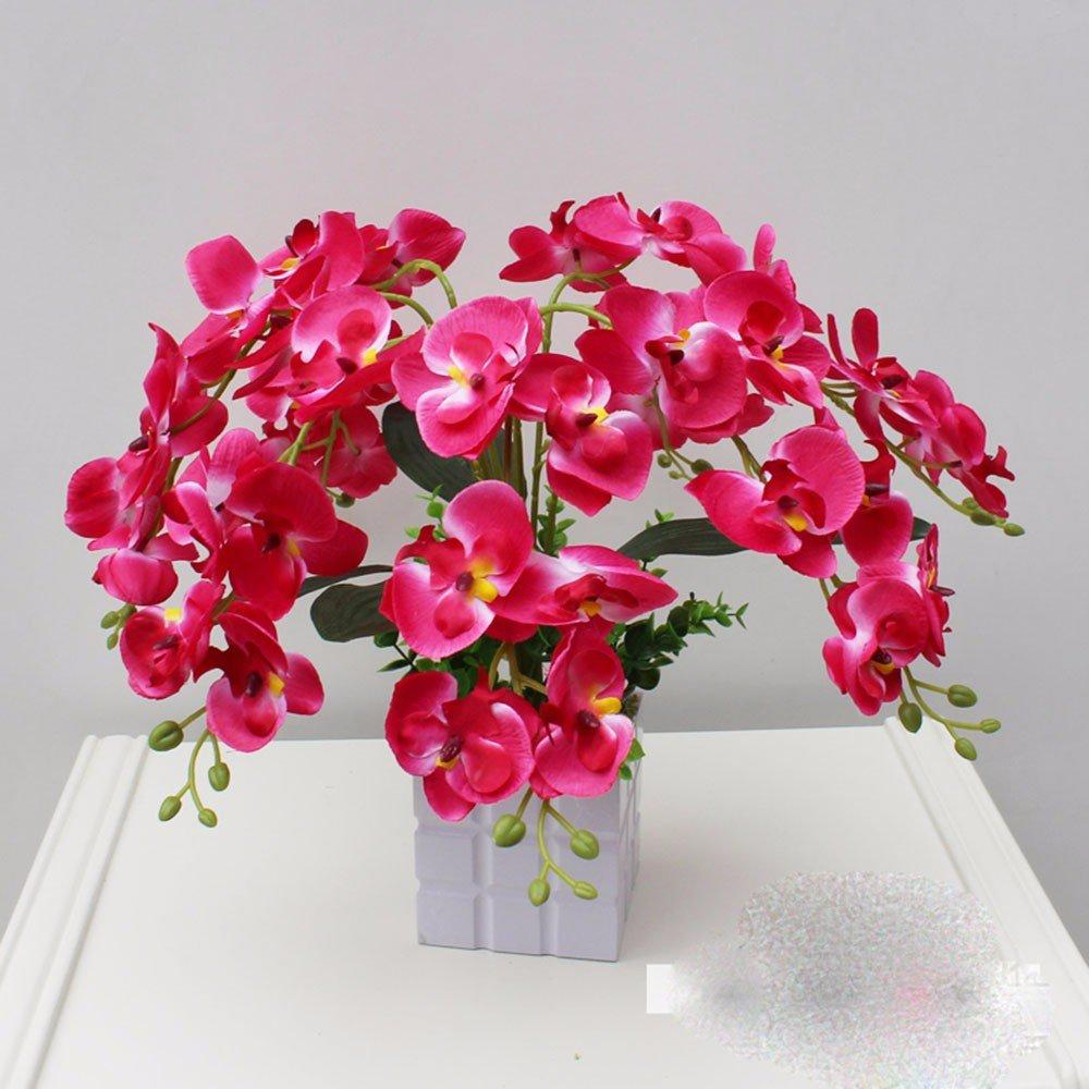 母の日ギフト装飾人工花オーキッドセラミック花瓶赤ブライダルアクセサリーArtsクラフトホームガーデンデコレーション用 – xhoposホーム B072LD6273