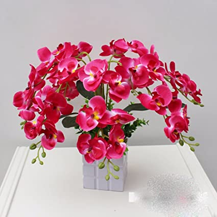 Amazon mothers day gift decorative artificial flowers orchid mothers day gift decorative artificial flowers orchid ceramic vase red bridal accessories arts crafts home garden mightylinksfo