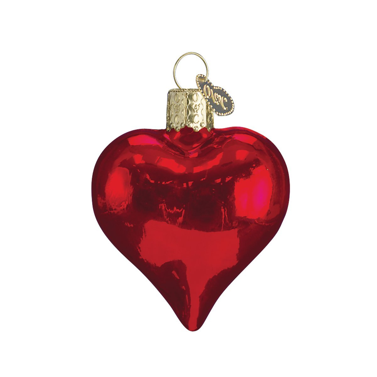 Old World Christmas Shiny Red Heart Glass Blown Ornament