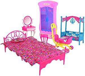 ViaGasaFamido Perfect Wooden Dollhouse, Colorful Wooden Doll House Furniture Set Living Room Bedroom Kitchen Accessories Pretend Play Kids Toy(Bedroom Style)