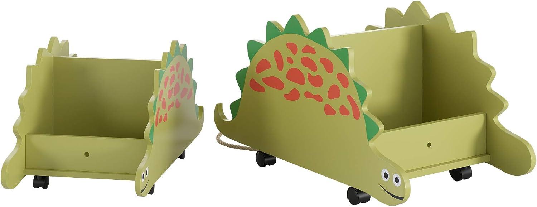 Homfa 2er Set Spielzeugkiste mit 4 Rollen Spielzeugwagen Aufbewahrungskiste/Spielzeug Aufbewahrungsbox Dinosaurier gr/ün 59/×31/×27.5 47.5/×26/×22 klein gro/ß