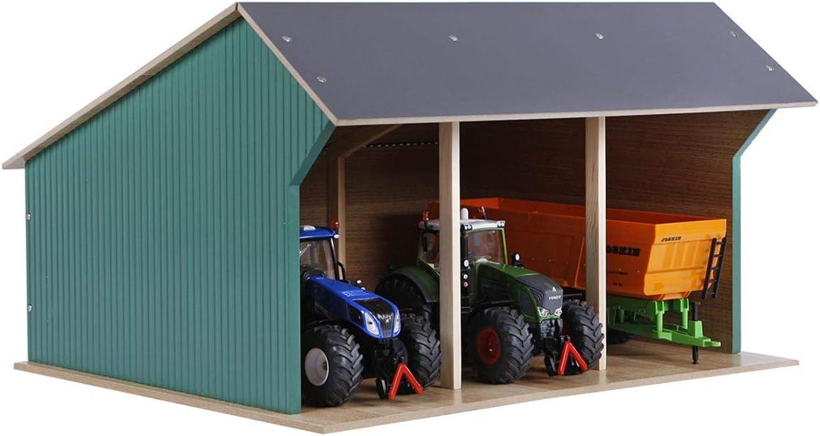 Kids Globe Fahrzeugschuppen 1 32 Für Bis Zu 3 Fahrzeuge Traktoren Anhänger Dach Aufklappbar Holzschuppen Für Bauernhof Maße 45x38x27 Cm 610193 Holz Spielzeug
