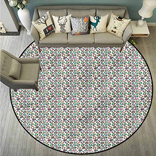 Living Room Round Mat,Diamonds,Geometric Crystals,Anti-Static, Water-Repellent - Chair Static Diamond Mats Anti