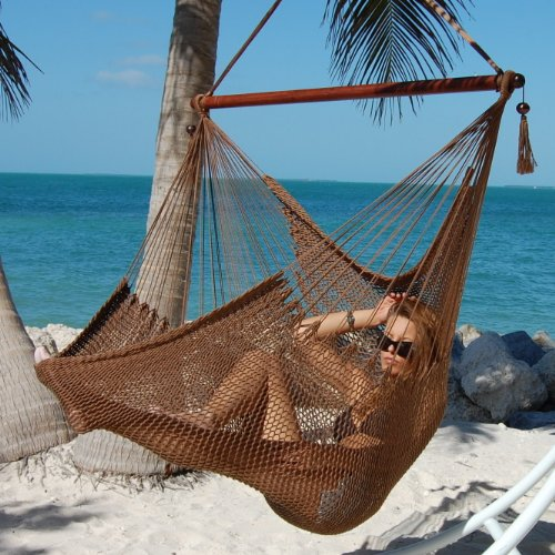 Large Caribbean Hammock Chair with Footrest - 48 Inch - Polyester - Hanging Chair - mocha