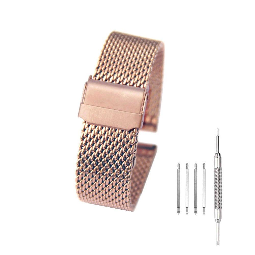 Milanese MeshステンレススチールWatch Band 18 – 24 mm折りたたみ式クラスプ2インターロック安全バックル腕時計ストラップ 18mm ローズゴールド B078MY4CWN 18mm ローズゴールド ローズゴールド 18mm