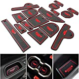 Toppower 16PCS Red Door Mats Gate Slot Mat Cup Pads Cup Holder for Jeep Renegade 2016