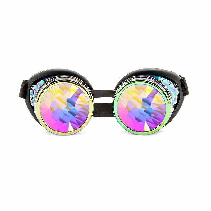 293a50dc9827c GloFX Polychrome Rainbow Kaleidoscope Goggles - Adjustable Strap Rave  Festival Goggles Prism Crystal Rainbow Lenses Cyber