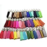 100pcs 38mm(1.5'') Suede Leather Tassel with Silver Caps (100pcs Silver)