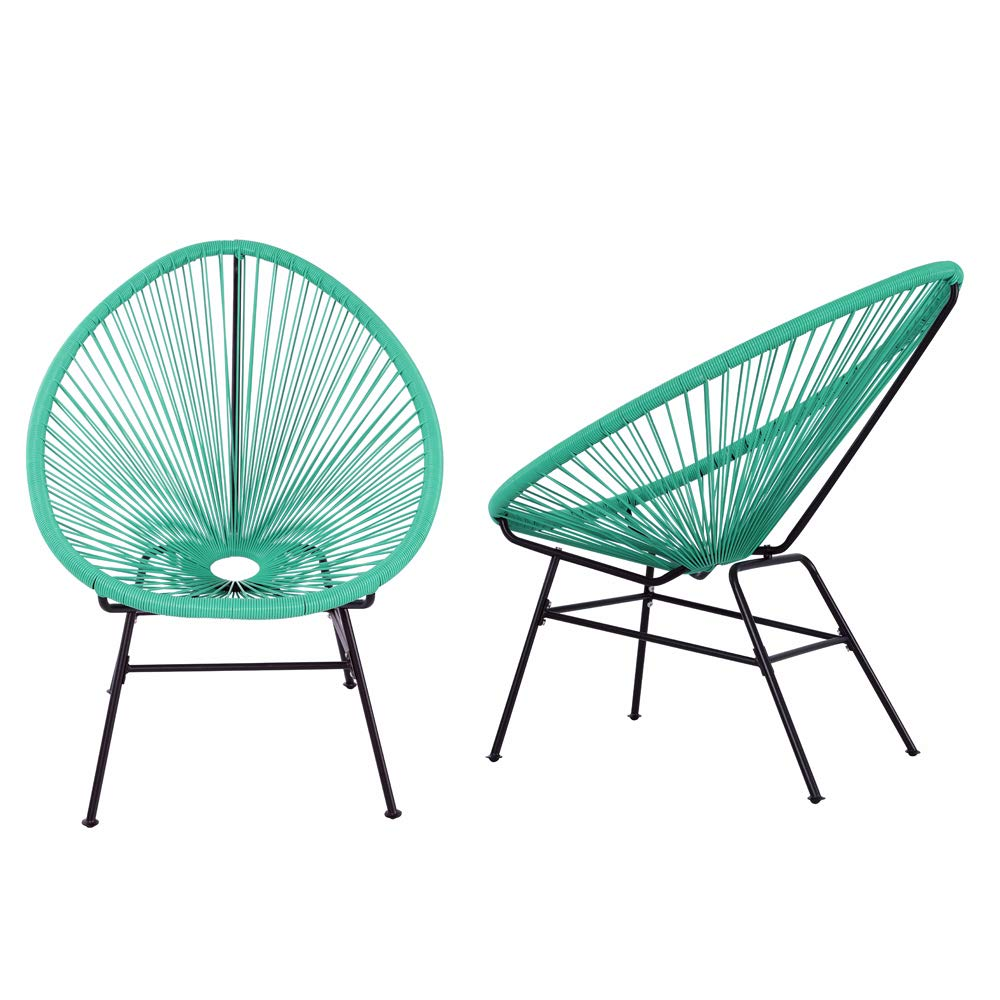 Acapulco Sun Chair Bistro Set Indoor Outdoor All-Weather Oval Weave Lounge Patio Papasan Chair (2 Piece Set, Turquoise)