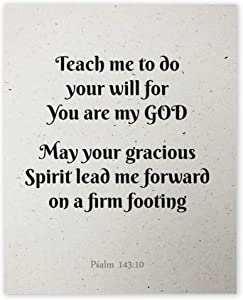 Teach me to do your will, for you are my God (Psalm 143:10) Wall Art Prints - Unframed 8x10 in - Bible Verse Scripture Signs for Home Decor - Motivational Pictures for Bedroom with Faith Signs