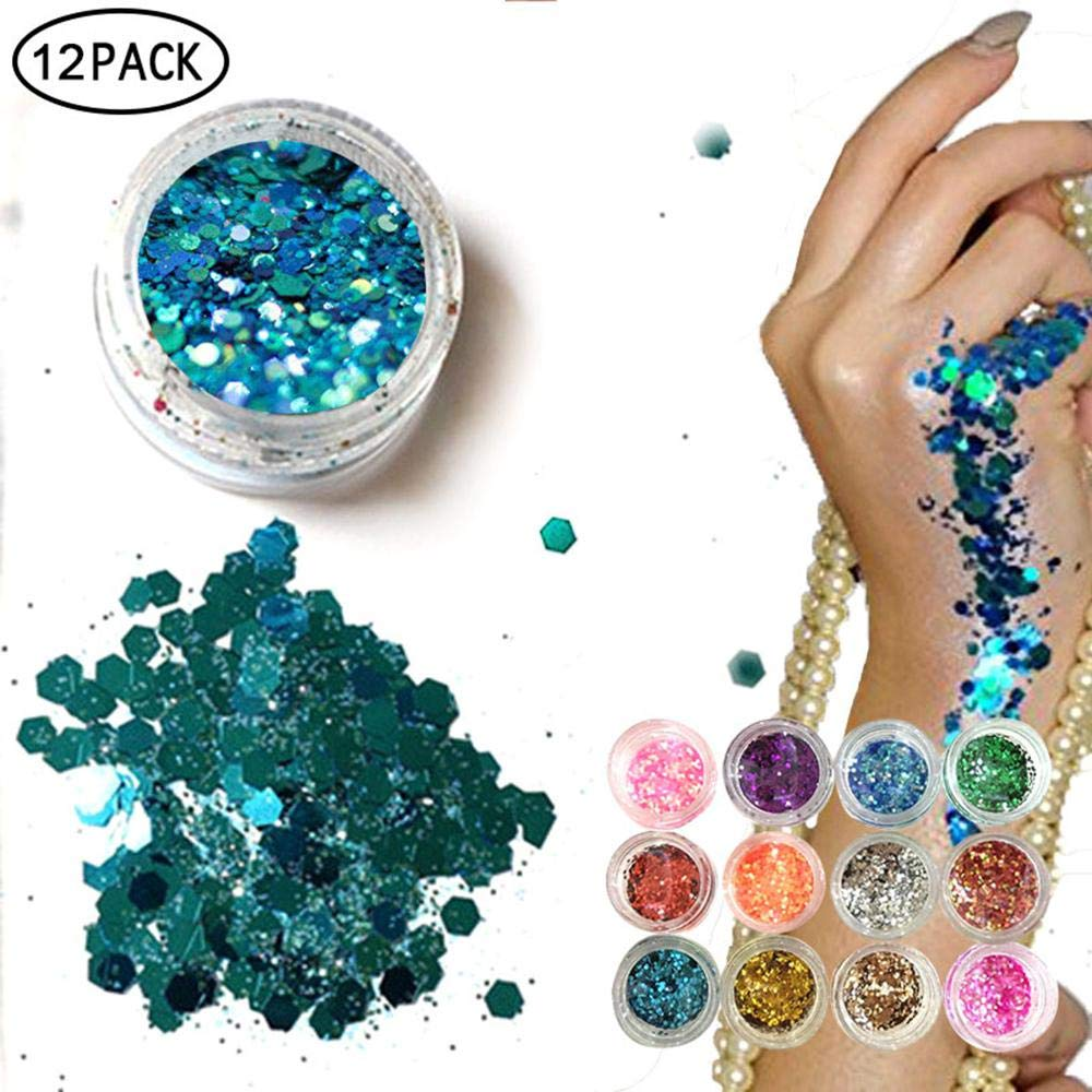 Eco Glitter | Cosmetic Glitter Face, KOBWA Body Hair - Chunky Color Holographic Festival Glitter,Paillette Face Dust Powder,Ultra-Thin Nail Glitter Sequins Art Decoration