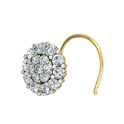 Buy Jewelkari Com 14k 585 Yellow Gold And Diamond Nose Pin Online At Low Prices In India Amazon Jewellery Store