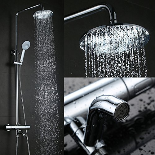 Kinse® Elegant Chrom Überkopf-Brauseset rain Duschsystem Duschstange mit Brausethermostat Regendusche Duschset inkl. Handbrause und Regenbrause