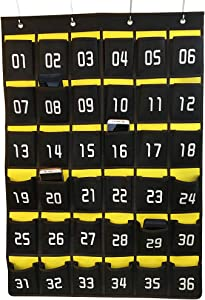 Loghot Numbered Classroom Sundries Closet Pocket Chart for Cell Phones Holder Wall Door Hanging Organizer (36 Pockets)