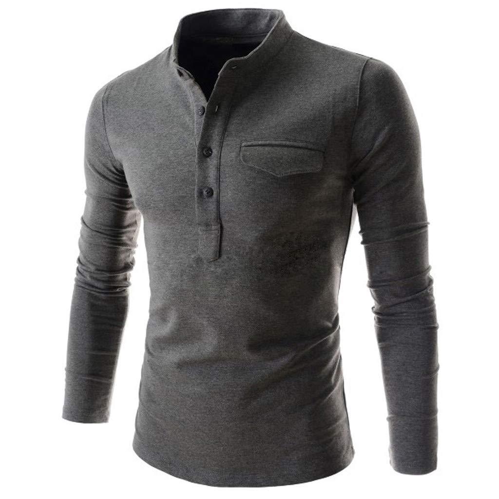 Tee-Shirt pour Hommes Lautomne Manche Longue Casual Slim Fit Coton Chemisier /à col Rond Basic JMETRIC