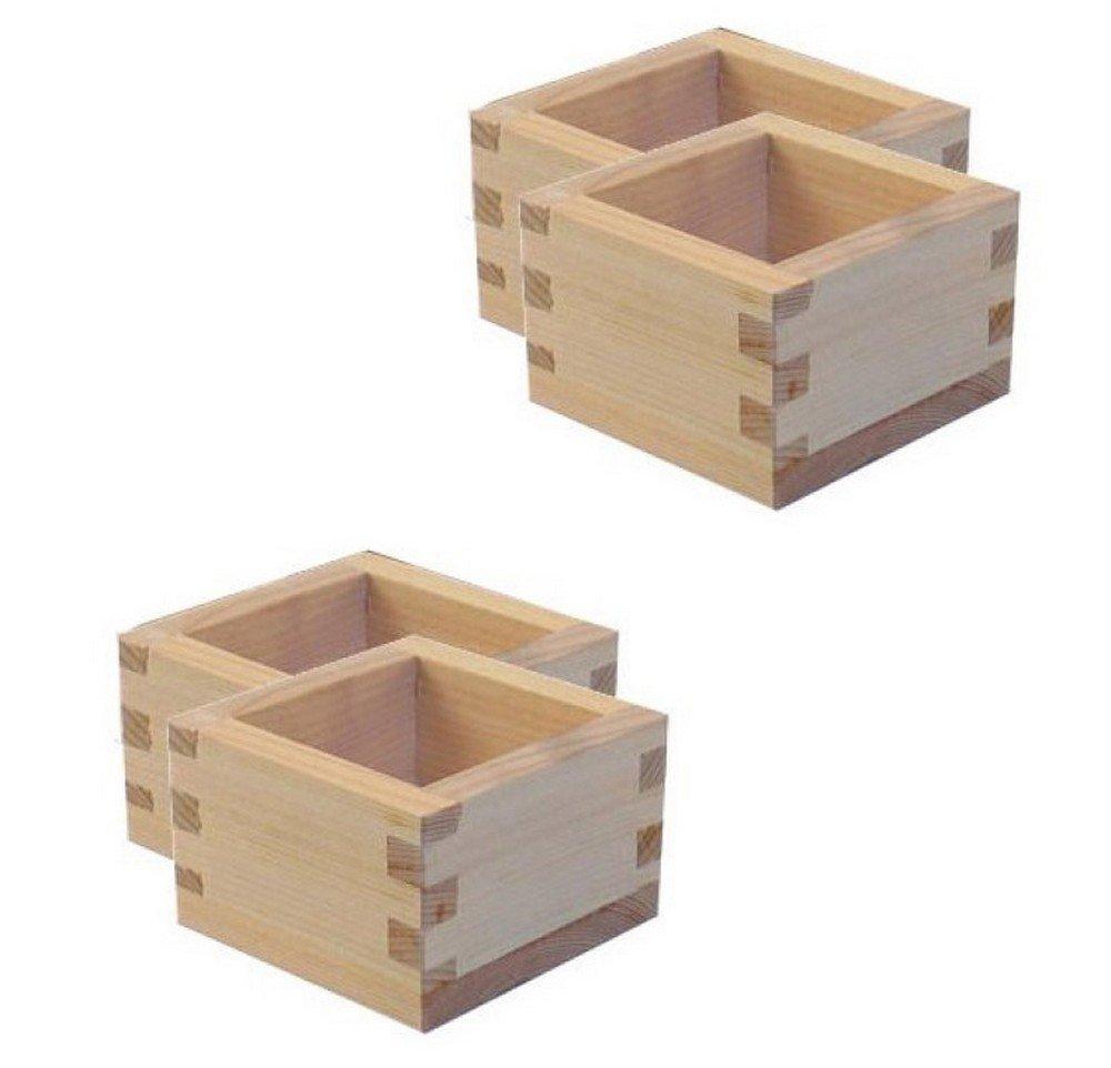 Happy Sales HSSC-4WD02 2 1/2 Masu Large Wooden Sake Cup (4 Pack), Natural