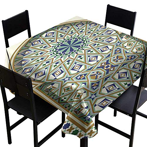 Round Tablecloth Black Turkish Pattern,Arabic Arch and Frame with Geometric Details Stars and Triangles,Caramel Green Indigo D70,Fabric Print - Wine Merlot Caramel
