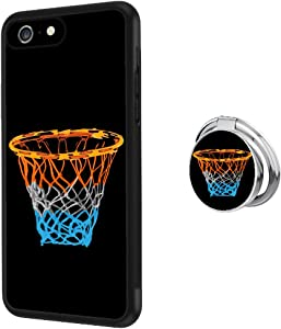 Universal Custom Flame Soccer iPhone 6s 6 Case with Ring Holder Kickstand Rotational Heavy Duty Armor Protective Soft TPU Bumper Shell Cover for iPhone 6s 6 (Basketball, iPhone 6s 6)