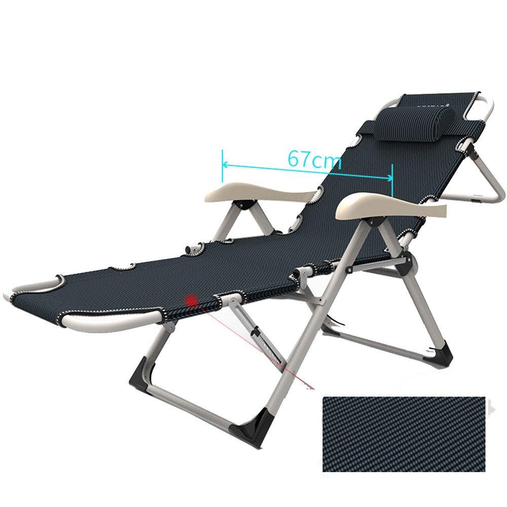 KTYXDE レジャーリクライニングバルコニーホーム折りたたみチェアオフィス昼食休憩シエスタベッド怠惰な椅子 折りたたみ椅子 (色 : A)  A B07KSSDGPX