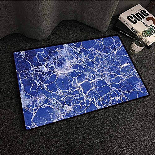 Apartment Decor Bedroom Doormat Metamorphic Marble with Vibrant Fragmented Pieces and Veins Limestone Art Decor Super Absorbent mud W20 xL31 Blue