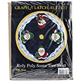 M.C.G. Textiles #37785 Latch Hook Kit, 45-Inch Round, Roly Poly Santa Tree Skirt