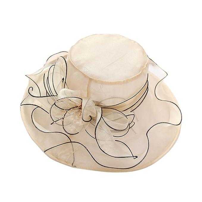Flower hats for women summer garden wedding Party derby Hat (Beige ... 65763807827