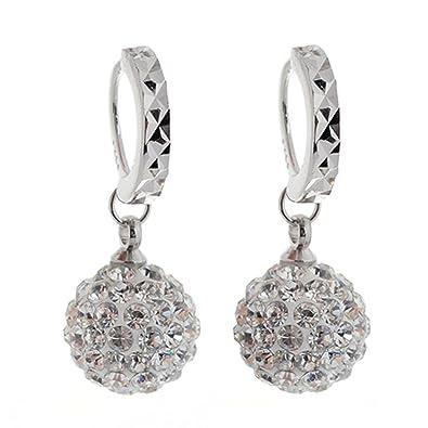 Ohrringe schmuck  Damen Elegant Silber Klar Kristall Ohrringe Anhänge Ohr Hoop ...
