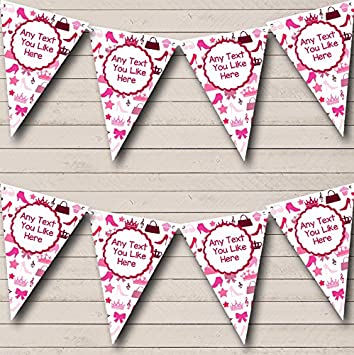 Pink Hearts Princess Girls Personalised Children/'s Birthday Party Bunting